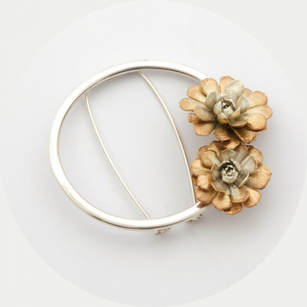 Brooch silver and rose gold plate