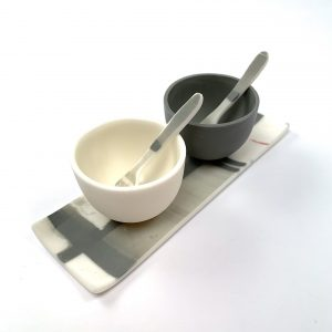Parian Porcelain Salt and Pepper bowls with spoons and tray.