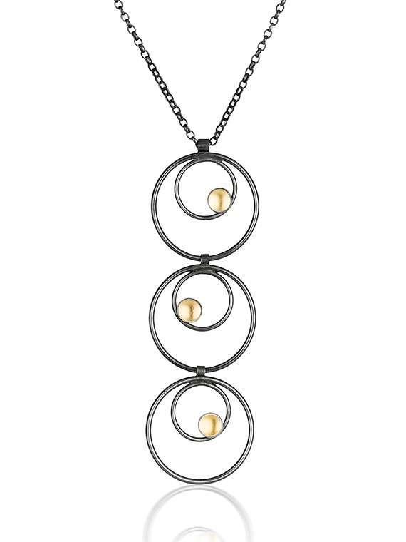 black & Gold Multi Drop Pendant by Fiona Kerr