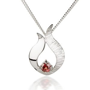 Ebb & Flow small silver garnet pendant by Fiona Kerr