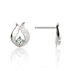 Ebb & Flow small silver blue topaz earrings
