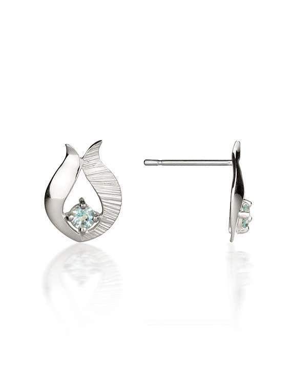 Ebb & Flow small silver blue topaz earrings
