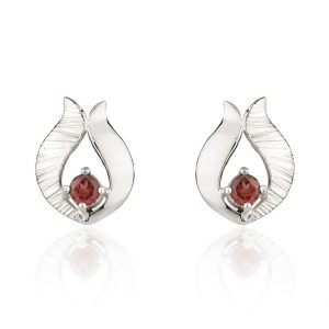 Ebb & Flow silver garnet earrings by Fiona Kerr
