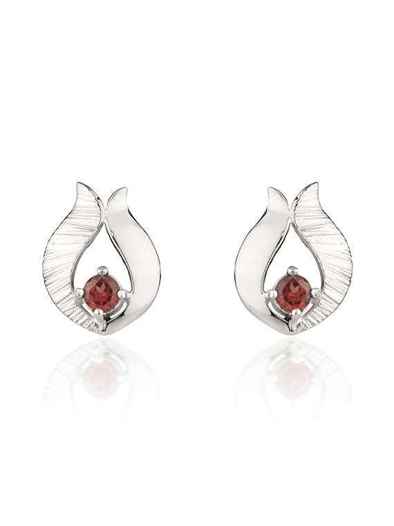 Ebb & Flow silver garnet earrings by Fiona Kerr