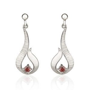 Ebb & Flow silver drop earrings with garnet by Fiona Kerr