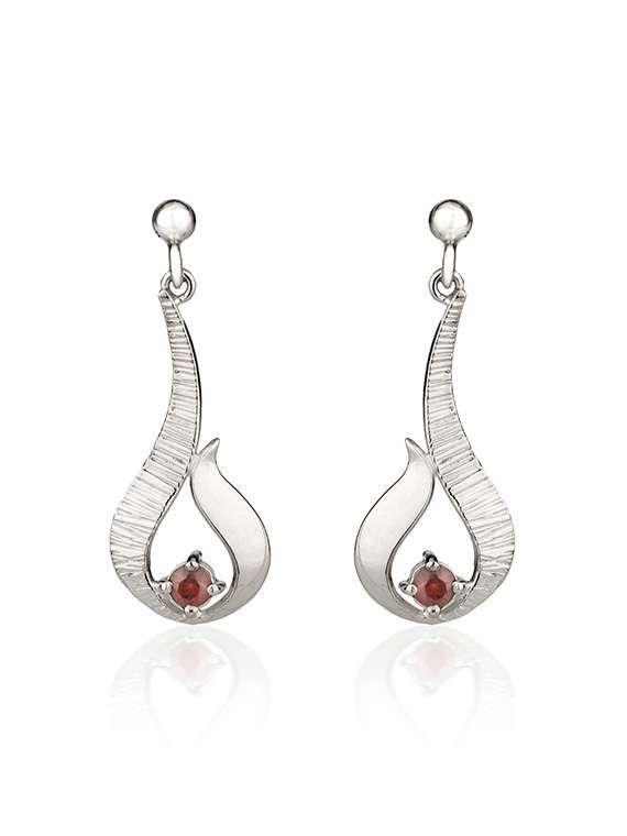 Ebb & Flow silver drop earrings with garnet by Fiona Kerr