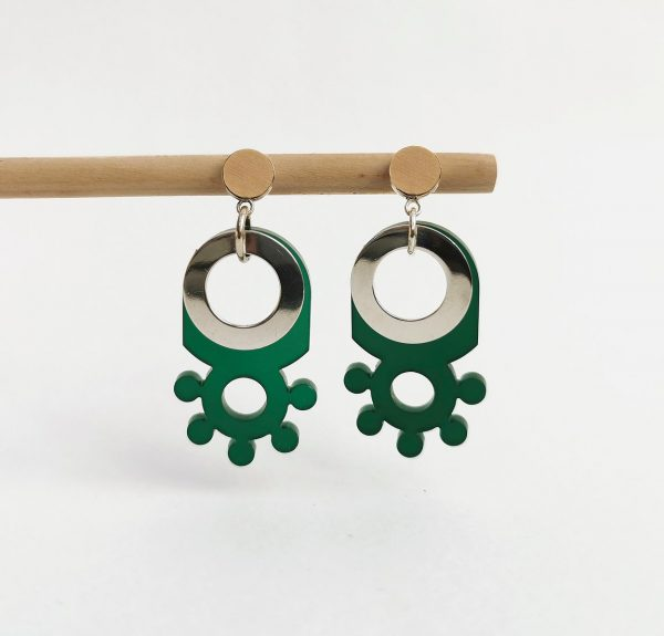 Green Perspex and Silver Earrings by Emma Knight