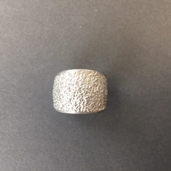 Wide textured pewter ring by Reaction jewellery