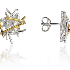 Magnetic silver and gold earrings by Jill Graham