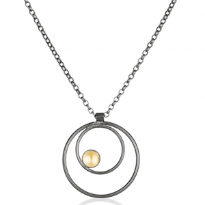 Pendant in oxidised silver and 22ct gold
