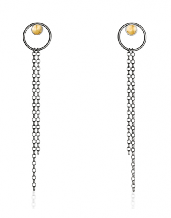 Earrings, oxidised silver and 22ct gold