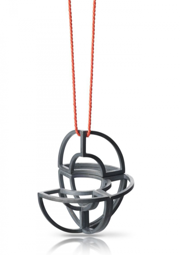 Constructed pendant in oxidised silver by Egle Banyte