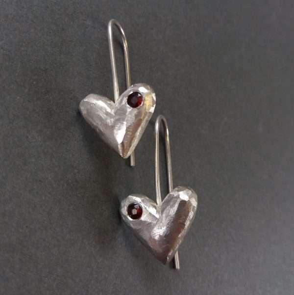 Silver, garnet heart earrings