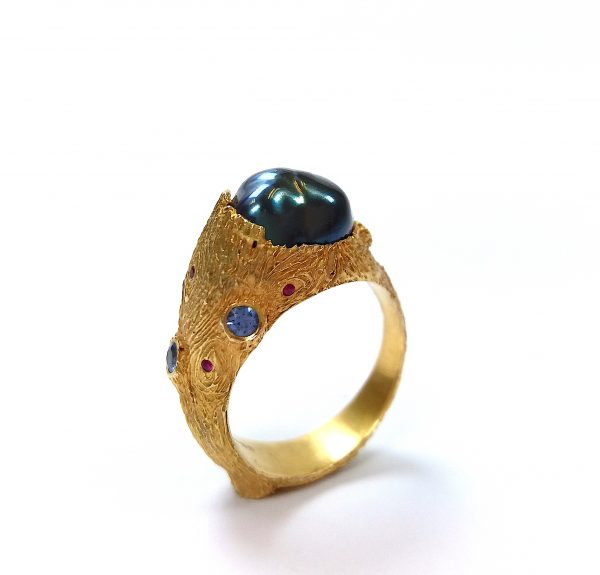 Encapsulated Pearl, Ruby and Sapphire Gold Plated Ring by Cameron & Breen