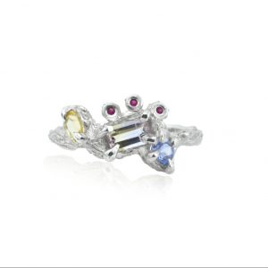Ametrine Tanzanite Citrine Ruby Silver Ring by Cameron & Breen
