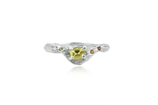 Citrine Tree Hugger Silver Ring by Cameron & Breen