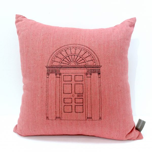Pink cushion embroidered front door design