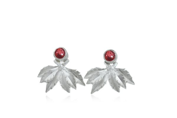Garnet cross leaf flourish studs by Cameron & Breen