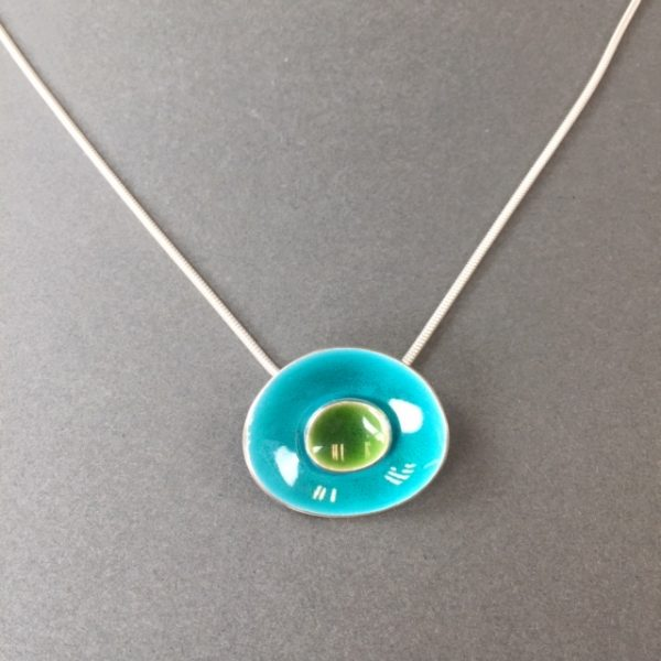 Green and Turquoise Enamel Pendant by Angela Davison