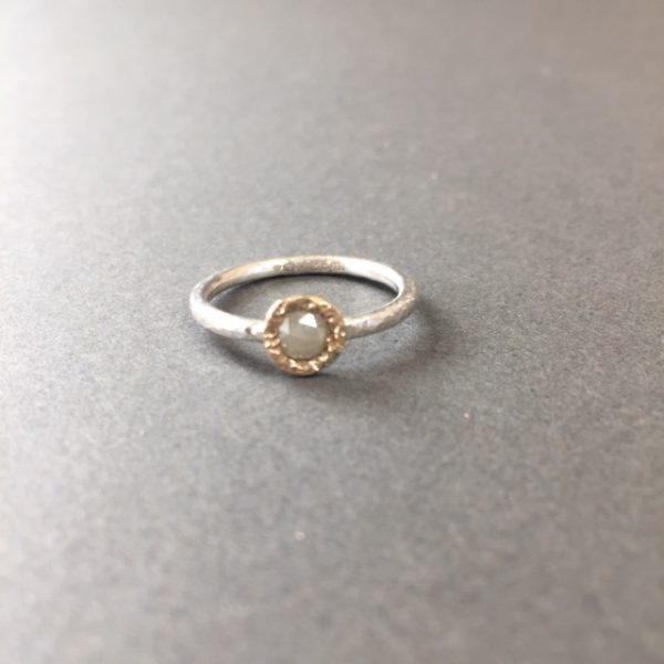Aurous grey diamond ring in silver and 9ct gold