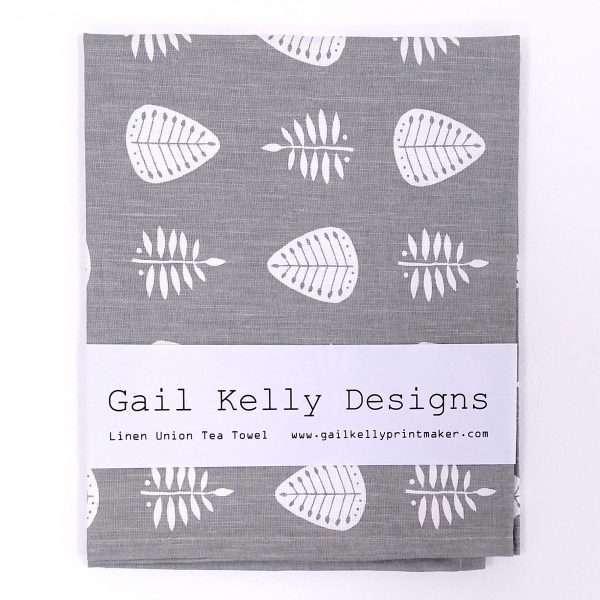 Gail Kelly tea towel, grey