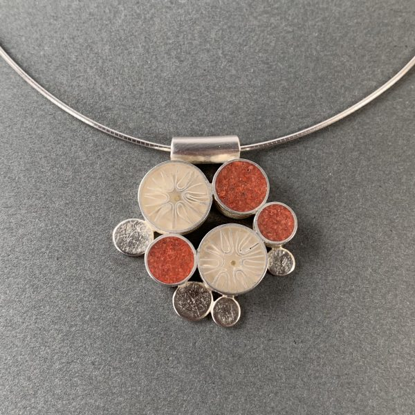 Coral and Resin Silver Pendant by Carla Pennie McBride