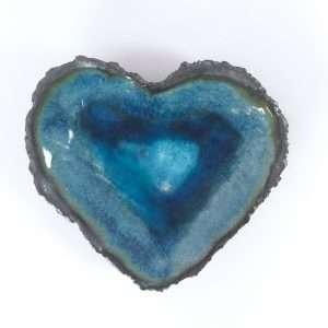 Black clay and blue glaze heart dish