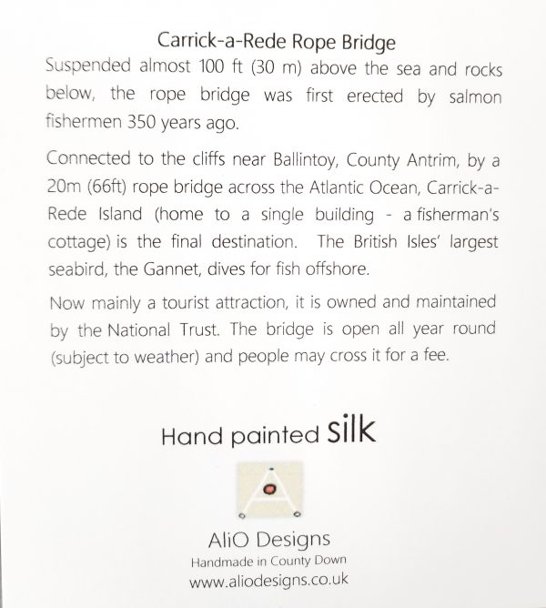 Text on back of card about Carrick-a-rede rope bridge
