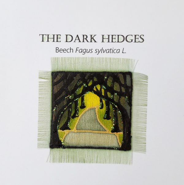 Detail of handpainted silk card design featuring the Dark Hedges