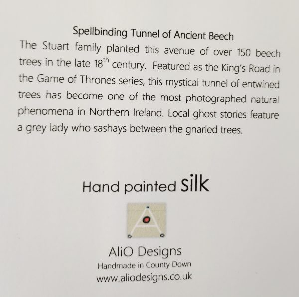 Text on back of card about the Dark Hedges