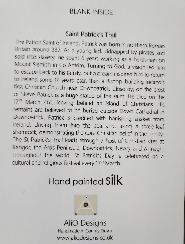 Text on back of card about St Patrick