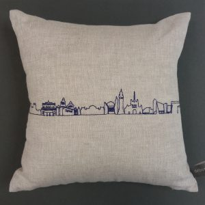 Embroidered Belfast skyline on cushion