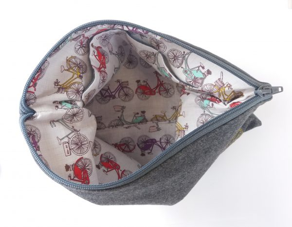 Inside of textile pouch