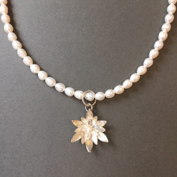 Waterlily Silver Pearl Necklace by Angela Davison