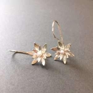 Waterlily Silver Pearl Earrings by Angela Davison