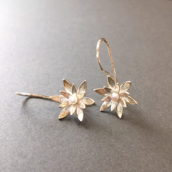 Waterlily Silver Pearl Earrings by Angela Davison