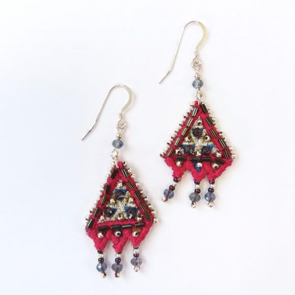 Embroidered pink drop earrings