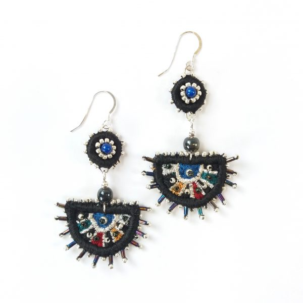Large black embroidered earrings with beaded details