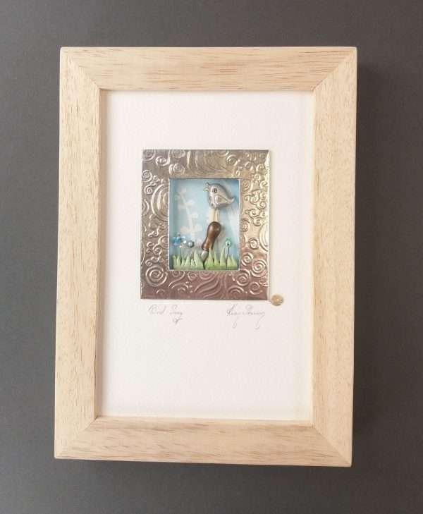 Mixed media framed art piece