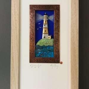 Framed mixed media lighthouse