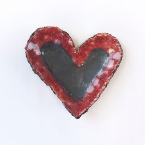 Ceramic heart dish black clay and pink glaze