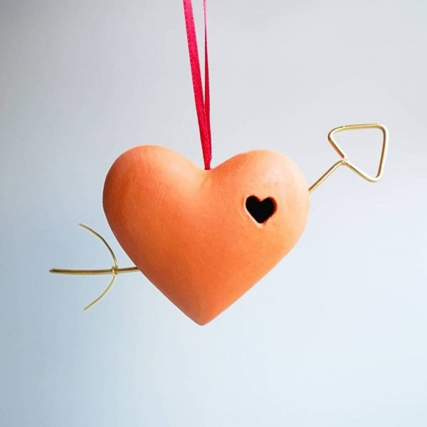 Terracotta heart and arrow bauble