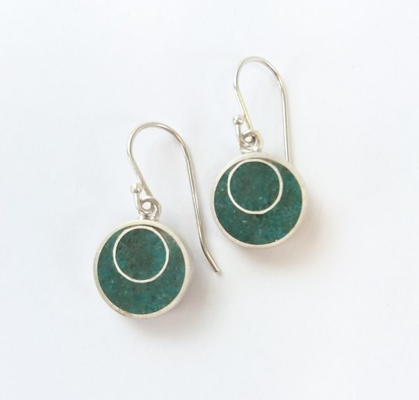 Round silver and turquoise drop earrings