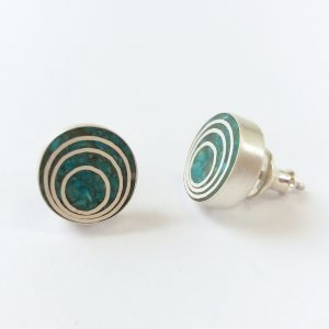 Round silver and turquoise stud earrings