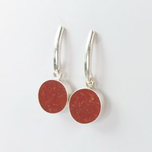 Silver stud earrings with coral