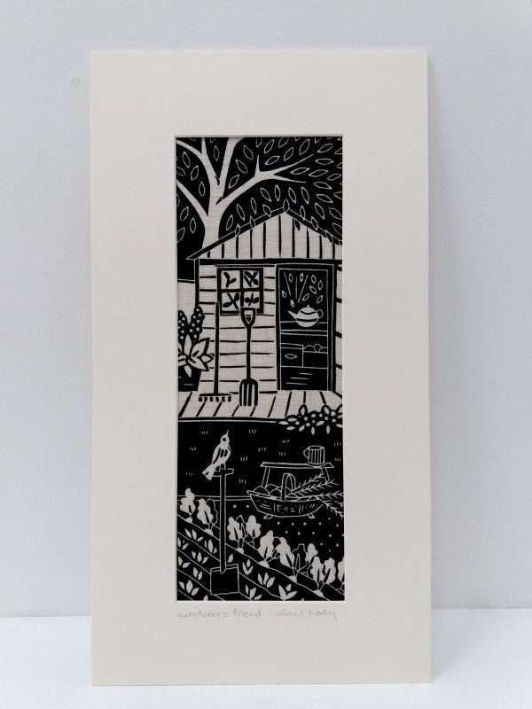 Gail kelly linoprint on Irish linen 'Gardener's Friend'