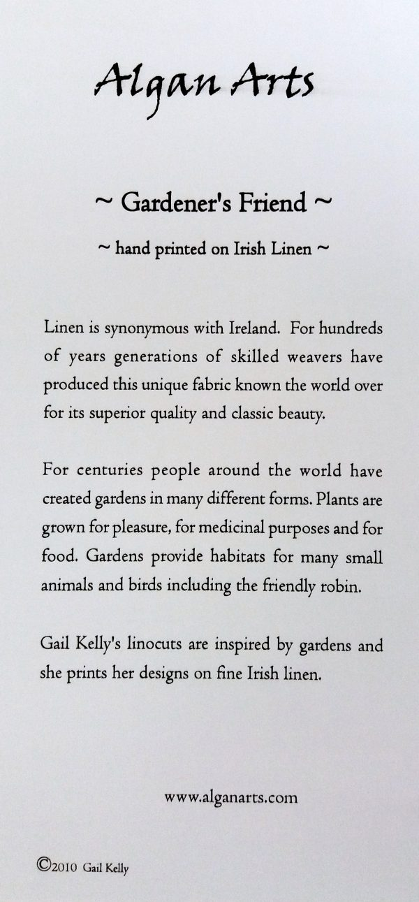 Back of Gail Kelly linoprint on Irish linen, Gardener's Friend