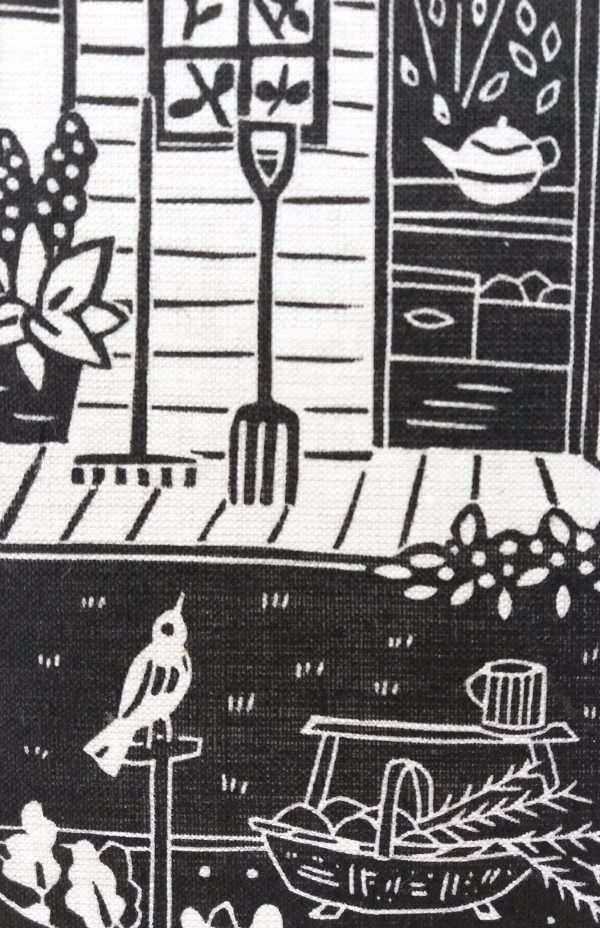 Gail Kelly linoprint on Irish linen 'Gardener's Friend' detail
