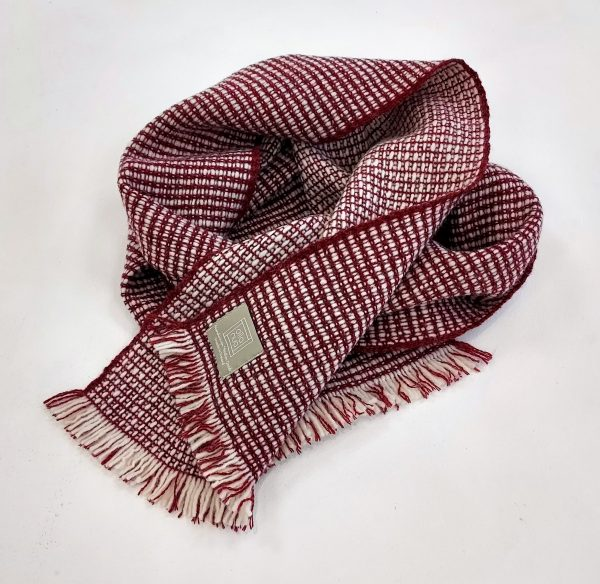 Handwoven woolen red and white scarf