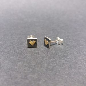 Oxidised silver gold heart stud earrings